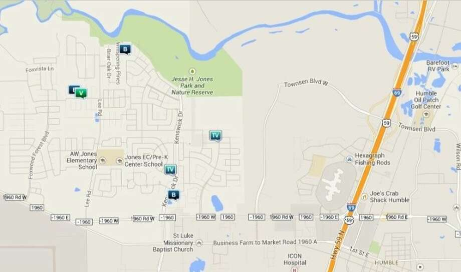 Law enforcement activity in the unincorporated Humble area Dec. 13-19. Legend: B - burglary; V - stolen vehicle; R - robbery; TV - theft from vehicle (BMV). Photo: Map By Crimereports.com