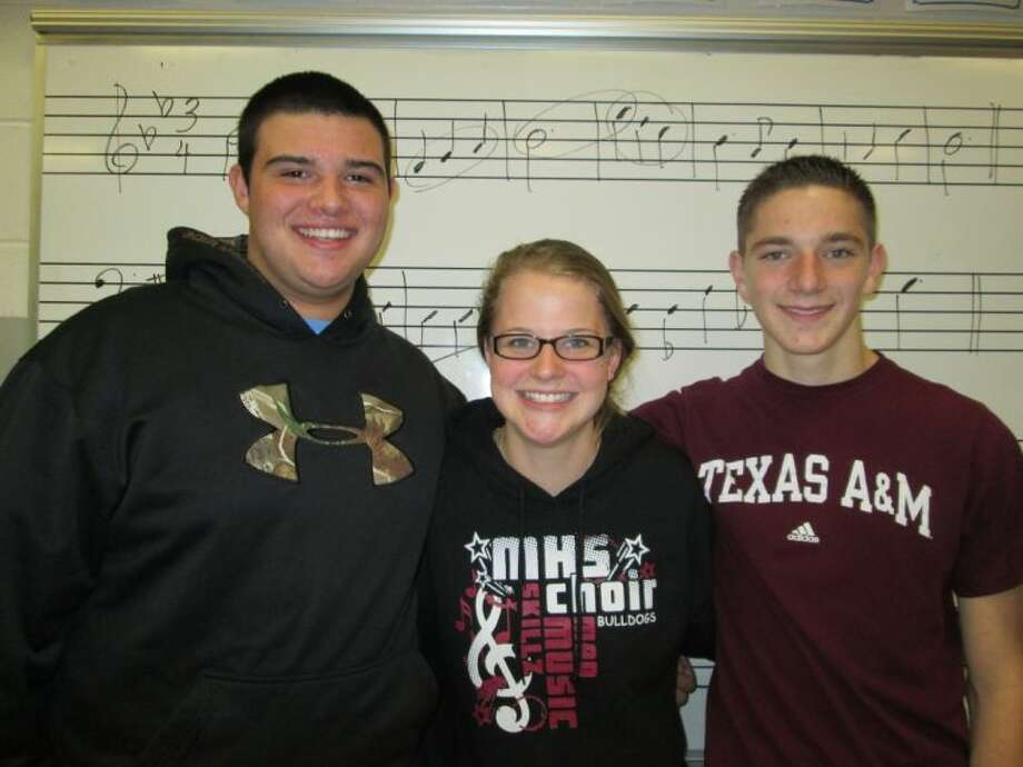 Juniors Kevin Collins, Cameron Stokes and Glendie Cornelison recently auditioned at pre-area to earn a place in Area. Photo: Submitted Photo