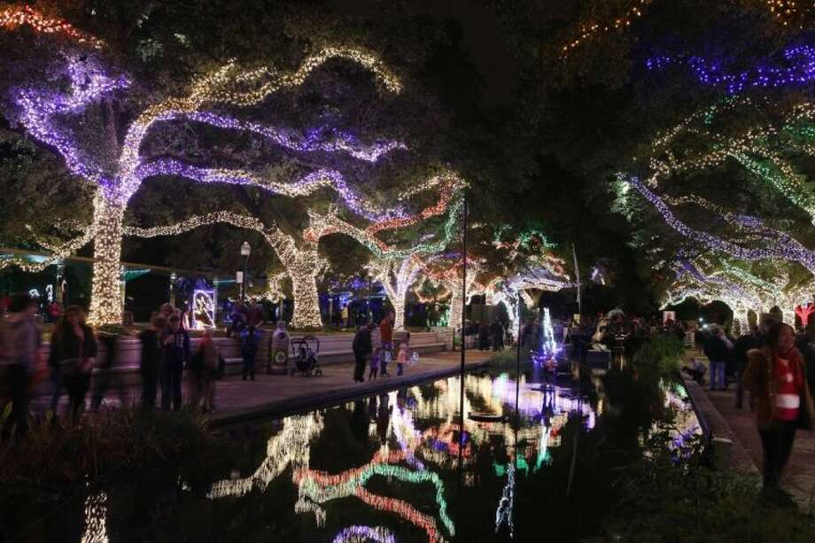 Spectators walk through glowing oak trees sparkling with thousands of colorful LED lights at the TXU Energy Zoo Lights, with more than 1 million lights at the Houston Zoo. TXU Energy Presents Zoo Lights will be open to the public through Jan. 4. Photo: Alan Warren