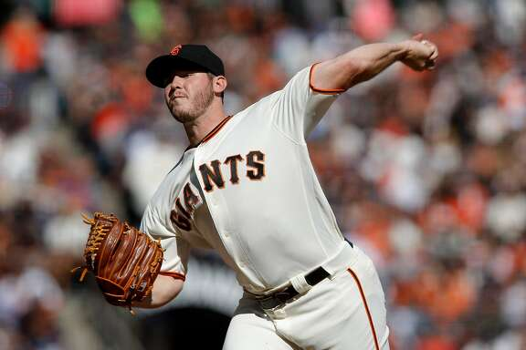 Giants' pitcher Ty Blach threw into the eighth inning, as the San Francisco Giants take on the Los Angeles Dodgers at AT&T Park  in San Francisco, California , on Sat. Oct. 1, 2016.