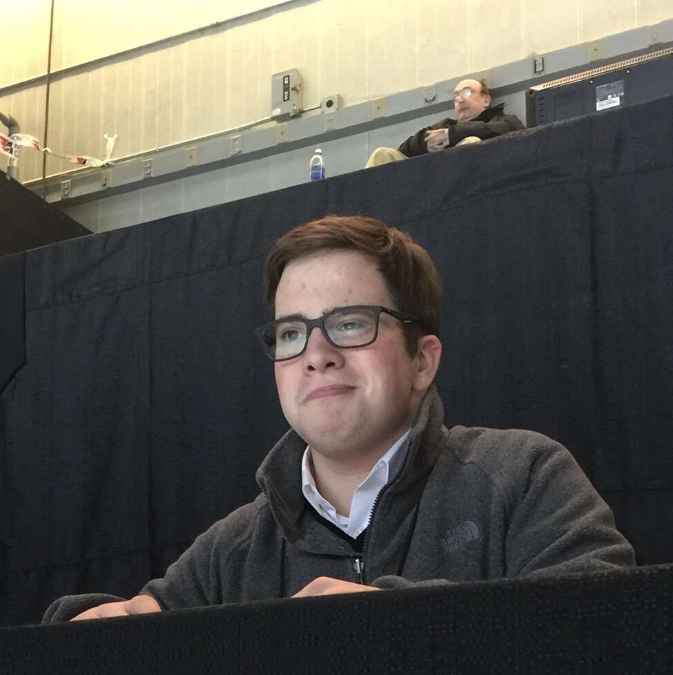 Dylan Rossiter, a senior at Maple Hill High School, covers a Siena basketball game last season.