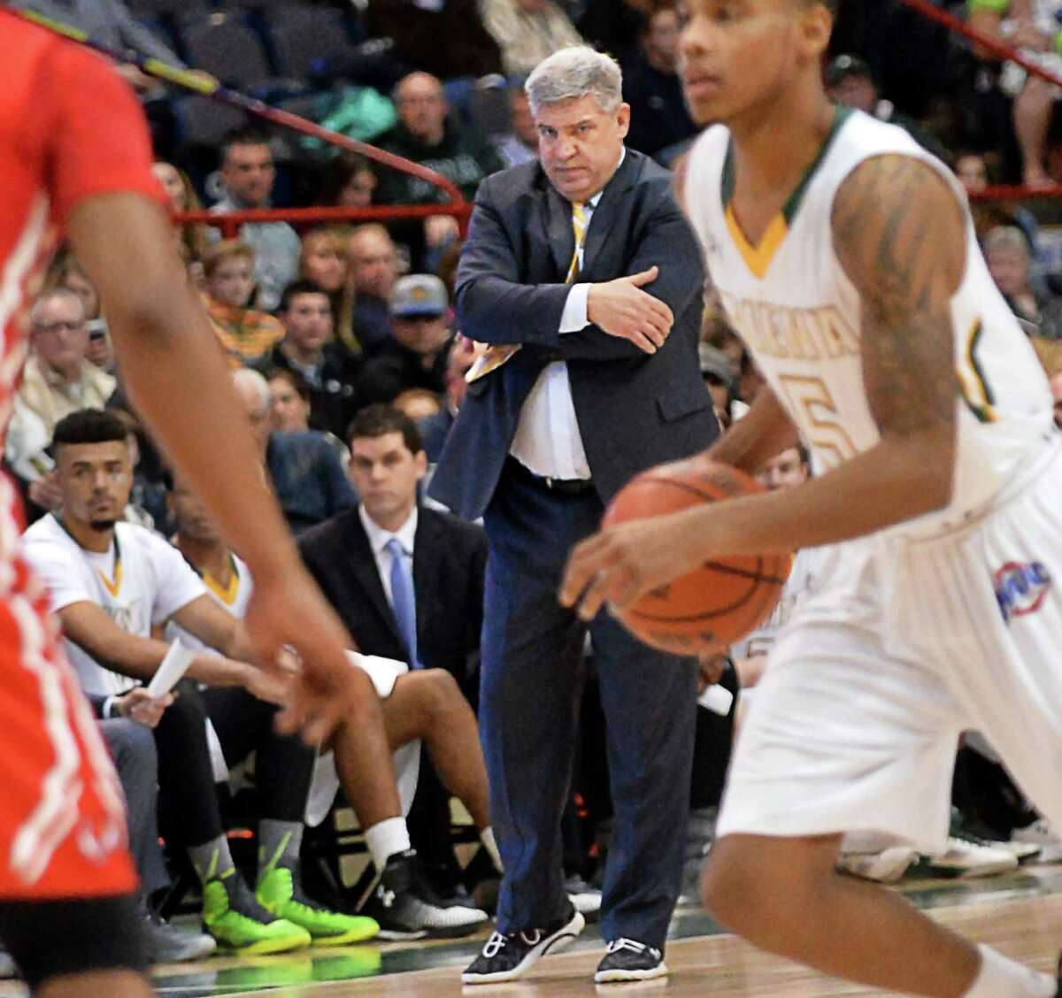 Siena head coach Jimmy Patsos watches from the sidelines during Saturday's game against Marist at the Times Union Center Jan. 30, 2016 in Albany, NY. (John Carl D'Annibale / Times Union)