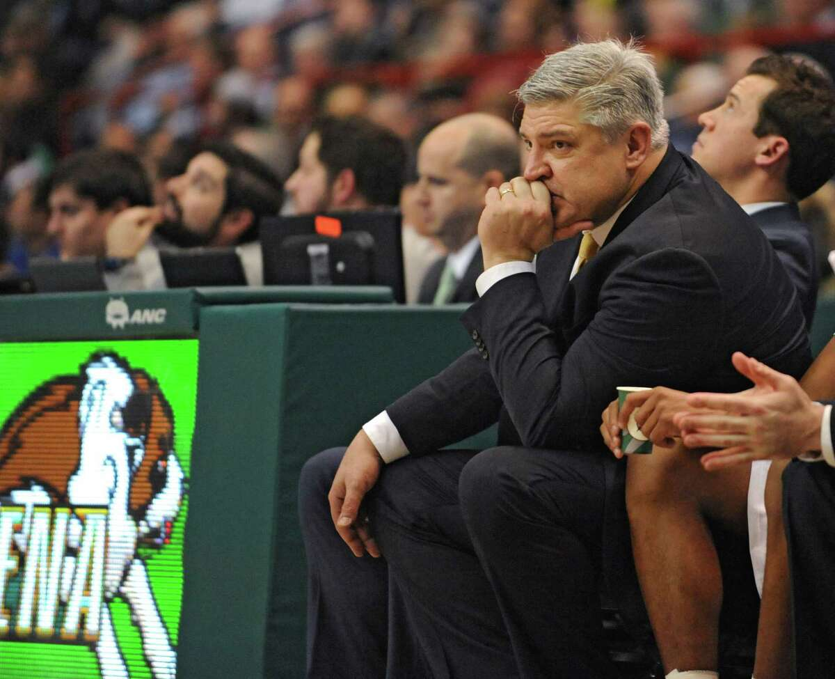 Siena head coach Jimmy Patsos tries to stay calm after a call during a basketball game against Monmouth at the Times Union Center on Monday, Feb. 1, 2016 in Albany, N.Y. (Lori Van Buren / Times Union)