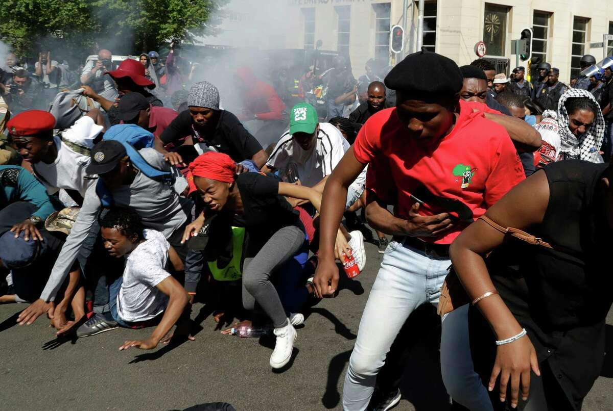 Student demonstrations such as this one in Johannesburg picked up after the South African government told universities they could raise fees by up to 8 percent beginning in 2017.