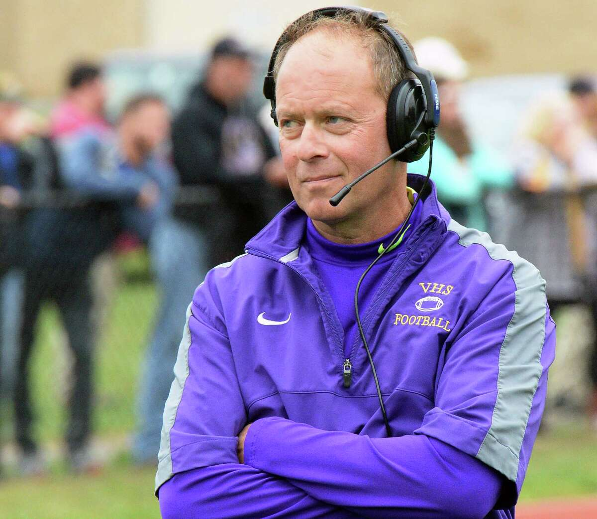Voorheesville head coach Joe Sapienza watches from the sidelines during Saturday's game against Mechanicville Oct. 1, 2016 in Voorheesville, NY. (John Carl D'Annibale / Times Union)