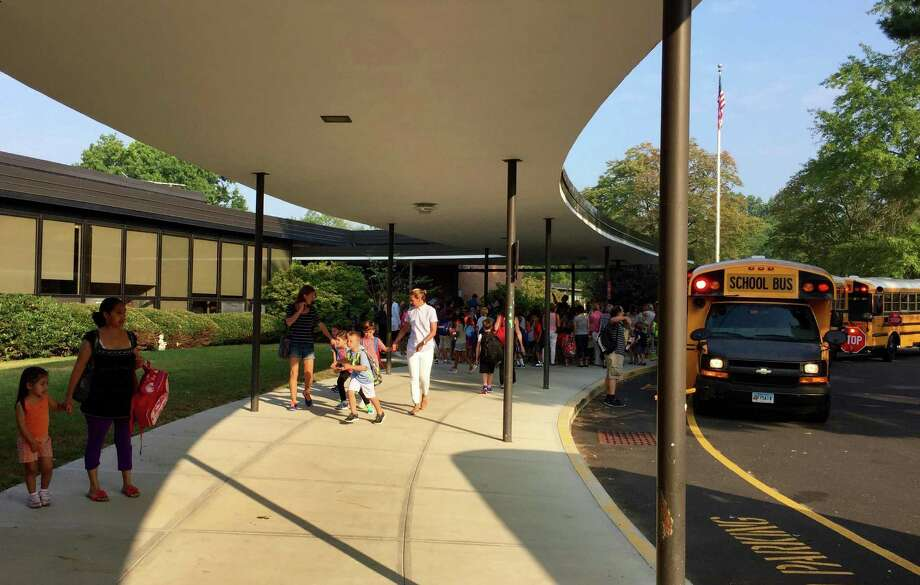 Students during the first day of school at North Street School in Greenwich. Photo: Contributed Photo / Greenwich Time Contributed Photo