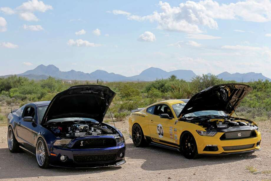 Shelby Mustangs part of the annual Shelby Mustang rally  cool off, at American Legion Post 653, after a high speed run down Texas 118 in which some cars approached 200 mph Saturday Oct. 1, 2016 near Study Butte, Tx. Photo: Edward A. Ornelas, Staff / San Antonio Express-News / © 2016 San Antonio Express-News