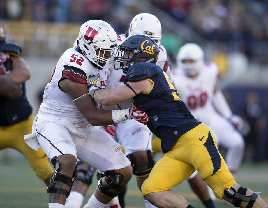 Utah's Sam Tevi (52) and California's Cameron Saffle tangle at the line of scrimmage during the fourth quarter of a football game, on Saturday, Oct. 1, 2016 in Berkeley, Calif. Cal won, 28-23. Photo: D. Ross Cameron, Special To The Chronicle