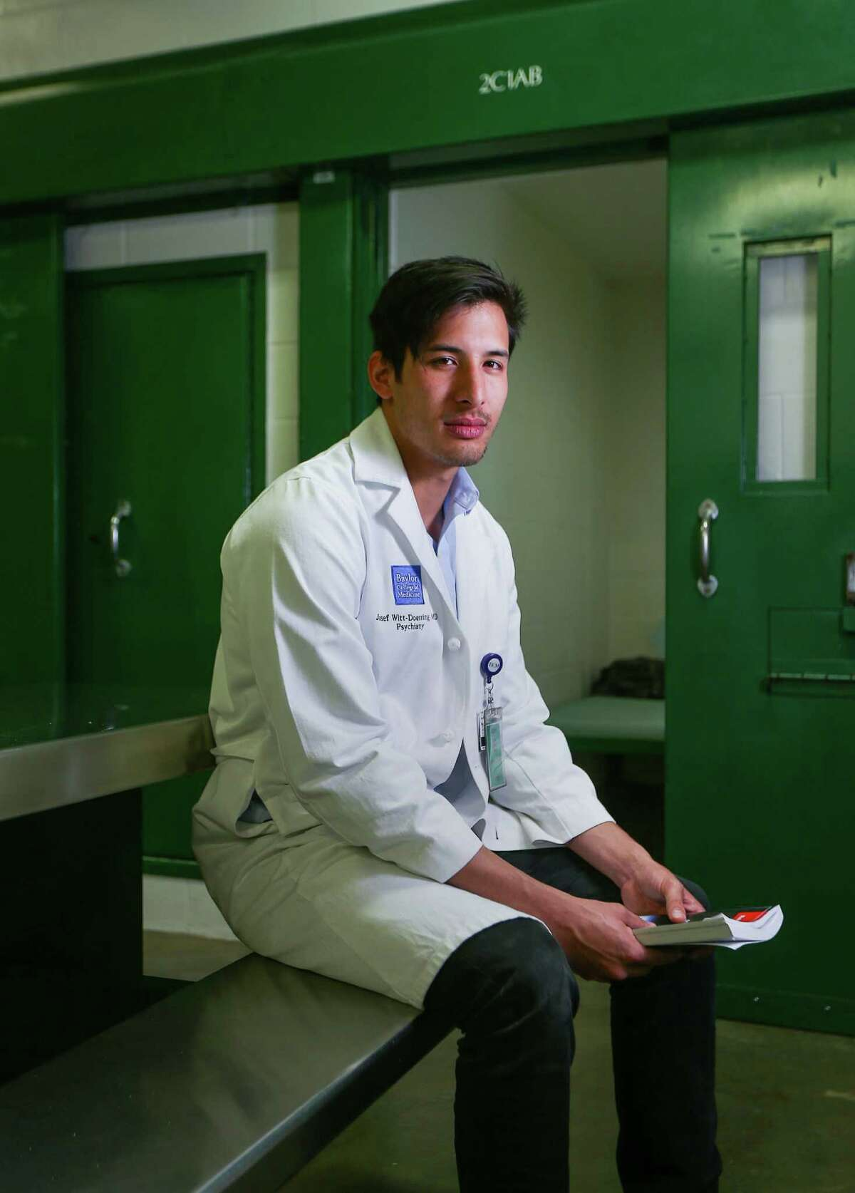 Dr. Josef Witt-Doerring poses for a portrait in the mental health unit at the Harris County Jail, Friday, Sept. 30, 2016, in Houston. Witt-Doerring is a second-year psychiatry resident. ( Jon Shapley / Houston Chronicle )