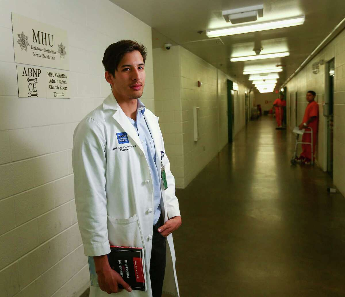 Dr. Josef Witt-Doerring, whose one-month rotation ended Friday, was the first Baylor College of Medicine psychiatric resident to work in the Harris County Jail.