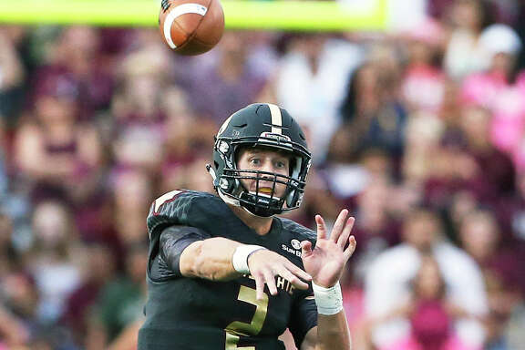 Bobcat quarterback Tyler Jones throws to a receiver in the first half as Texas State hosts the University of the Incarnate Word at Bobcat Stadium on October 1, 2016.