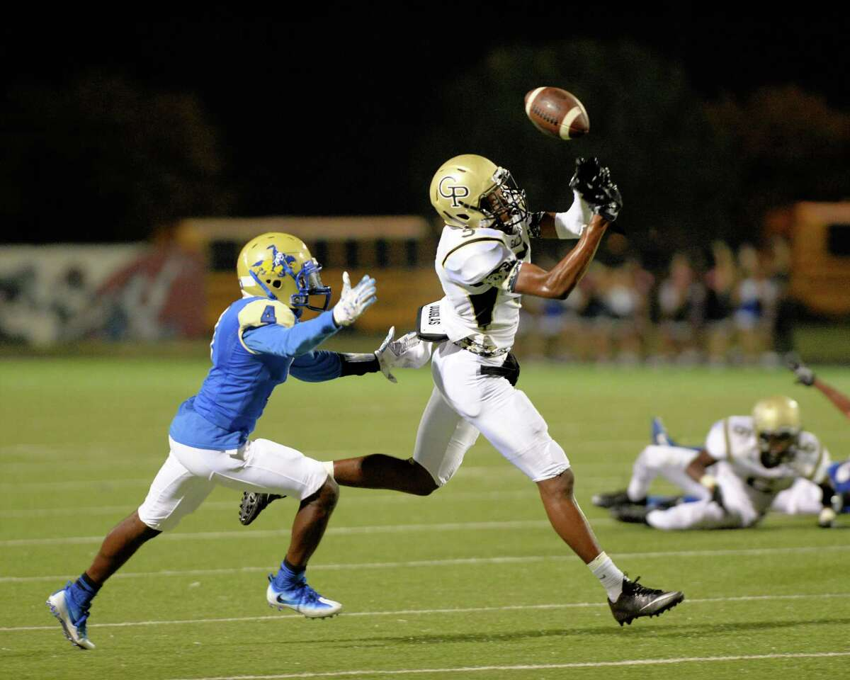 A pass falls out of the reach of Jalen Davis (5) of Galena Park in the third quarter of a high school football game between the Elkins Knights and the Galena Park Yellow Jackets on October 1, 2016 at Hall Stadium, Missouri, TX.
