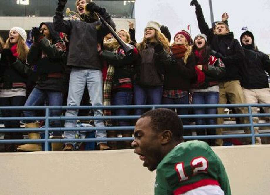 The Woodlands wide receiver Jeremy Davis Harper gets excited toward the end of a Region II-5A area playoff game against Round Rock on Saturday afternoon at Waco ISD Stadium. Go to HCNPics.com to view and purchase this photo, and others like it. Photo: Staff Photo By Ana Ramirez / The Conroe Courier/ The Woodland