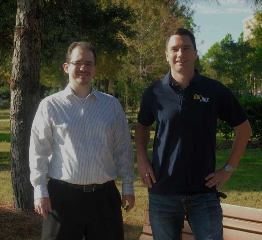 BarJinx founders Adam Taylor (left) and Douglas Hayes, Cinco Ranch entrepreneurs who hope to bridge a gap in the tech world with their service. Photo: Alex Endress