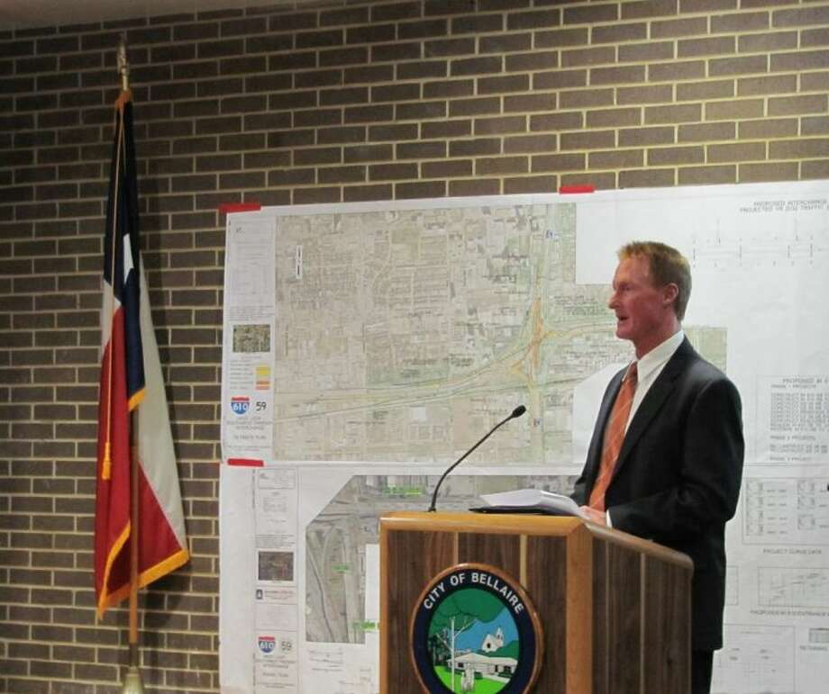 Bellaire City Engineer James Andrews, with ARKK Engineers, discusses hot-button issues related to TxDOT's proposed improvements for the Interstate 610 interchange at U.S. 59.