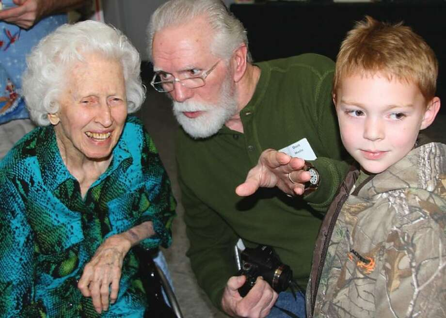 Miss Lodge with her cousin, Don Wells of Magnolia, and his grandson, Hayden Wells, age 5. Photo: SUBMITTED PHOTO