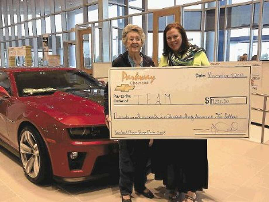 Parkway Chevrolet presented a $19,287.30 check to the Abandoned Animal Rescue, a nonprofit no-kill animal shelter, and $19,237.30 to the Tomball Emergency Assistance Ministries, a nonprofit organization that provides clothing, food and assistance to low-income families in the Tomball area. Photo: Submitted / @WireImgId=2650891