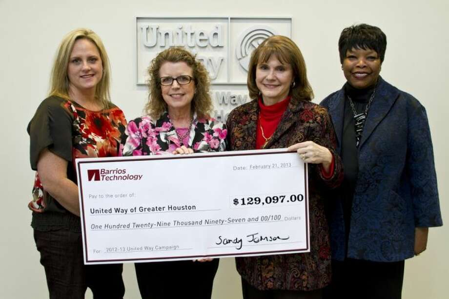 Pictured from left are Tracey Escamilla, this year's United Way Chairperson for Barrios; Sandy Johnson, Barrios President and CEO; Anna Babin, President & CEO of United Way of Greater Houston; and Yvonne Thornburg, Director of Donor Relations of United Way of Greater Houston. Photo: SUBMITTED PHOTO