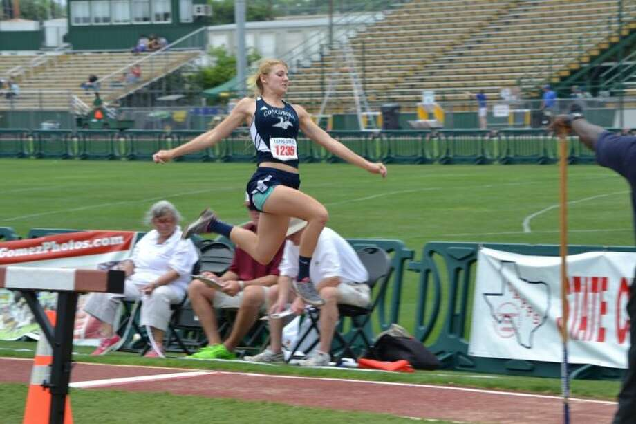Concordia Lutheran's Beth Thompson set a personal best in the long jump and won the TAPPS 5A state championship with a leap of 17-5 1/4. Photo: Concordia Lutheran HS
