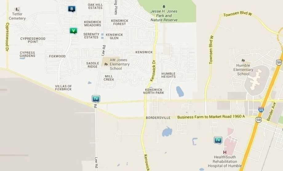 Law enforcement activity in the unincorporated Humble area June 21-27. Legend: B - burglary; V - stolen vehicle; TV - theft from vehicle (BMV) Photo: Credit: Map By Crimereports.com