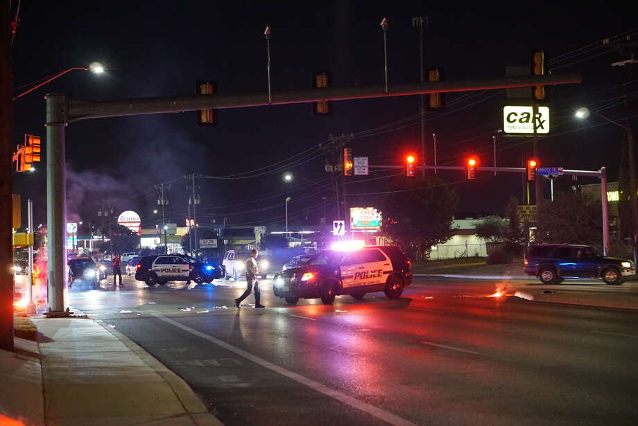 San Antonio police investigate the scene of a fatal accident where a man was struck by a pickup as he crossed Culebra Road Saturday night.