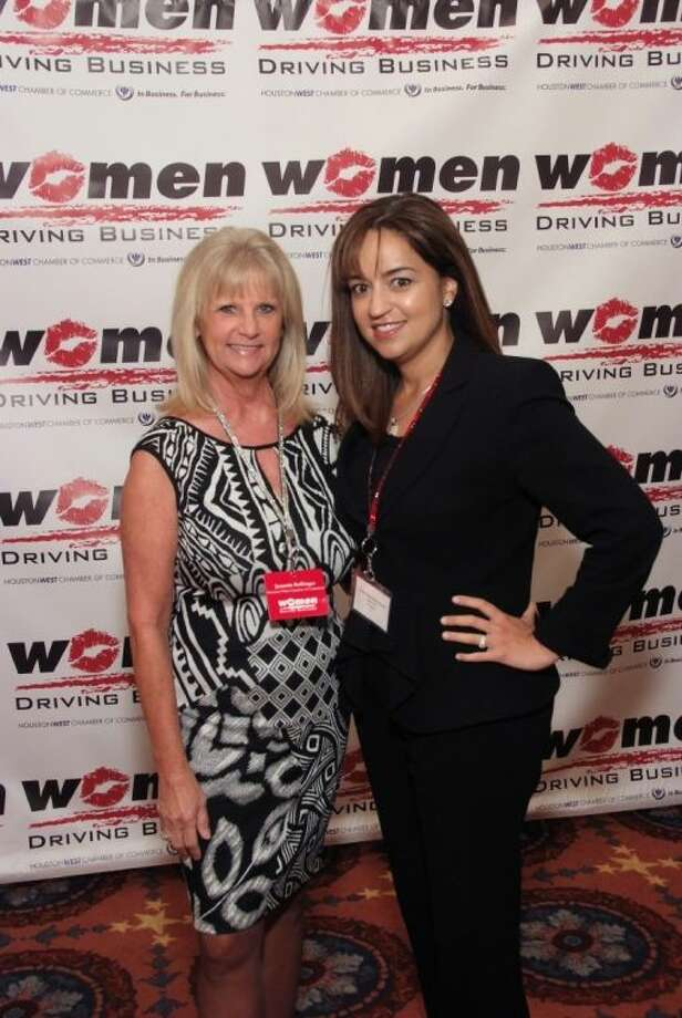 Houston West Chamber of Commerce President Jeannie Bollinger (left) with Momentum BMW General Manager Maria Moncada Alaoui at the Women Driving Business breakfast 2013. Photo: David Postma