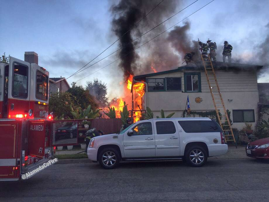 Firefighters on Sunday morning put out a 2-alarm blaze at home in San Leandro. No one was injured, and the cause of the fire was under investigation. Photo: Alameda County Fire Department / /
