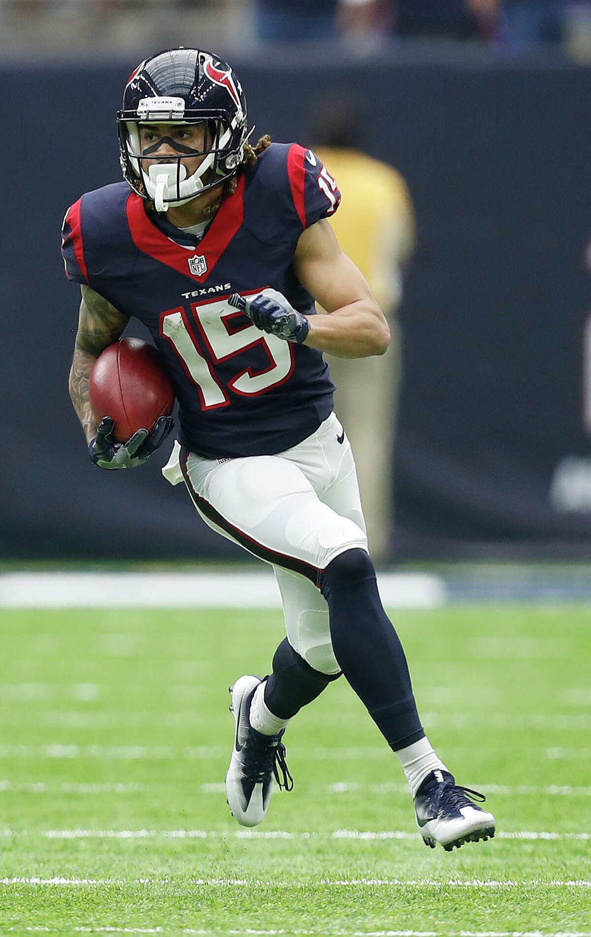 Houston Texans wide receiver Will Fuller (15) runs the ball for a 67-yard punt return for a touchdown during the third quarter of an NFL football game at NRG Stadium, Sunday, Oct. 2, 2016 in Houston.