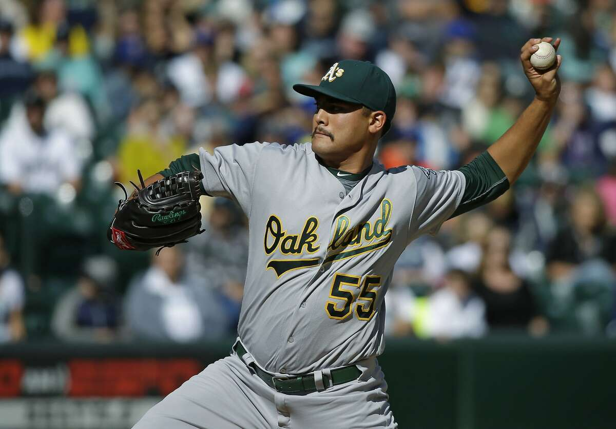Oakland Athletics starting pitcher Sean Manaea throws against the Seattle Mariners in the second inning of a baseball game, Sunday, Oct. 2, 2016, in Seattle. (AP Photo/Ted S. Warren)