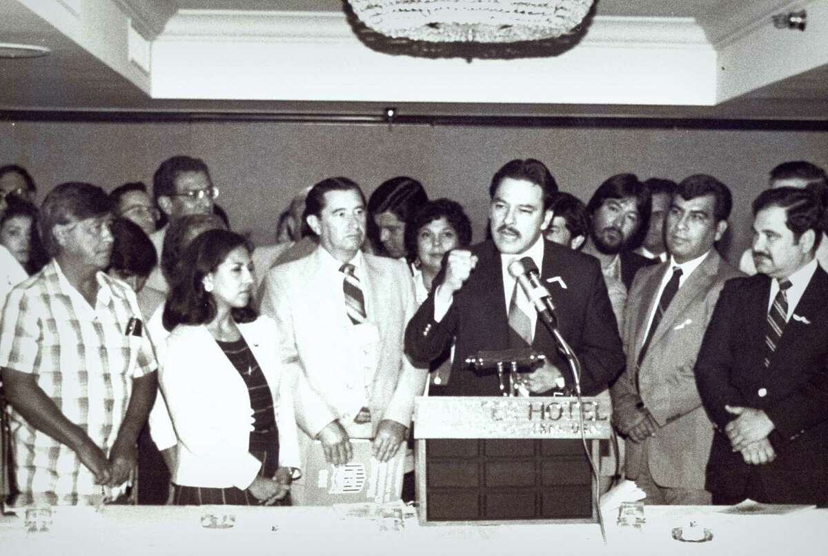 Voters rights activist Willie Velasquez (at podium), who died 20 years ago this week, inspired the creation of the National Alliance of Craftsmen Associations. He'll be honored tonight at the group's first gala.