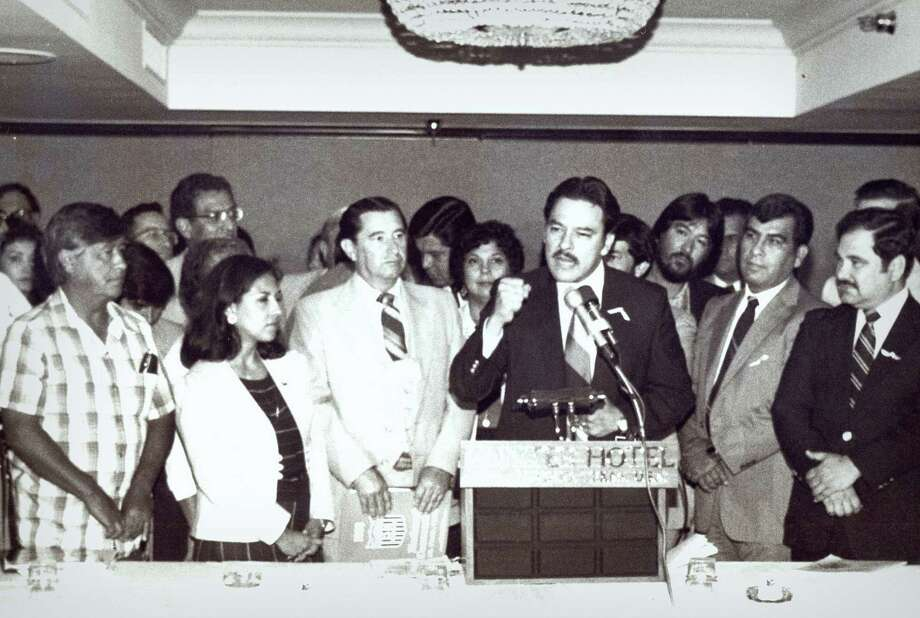 Voters rights activist Willie Velasquez (at podium), who died 20 years ago this week, inspired the creation of the National Alliance of Craftsmen Associations. He'll be honored tonight at the group's first gala. Photo: COURTESY GEORGE VELASQUEZ