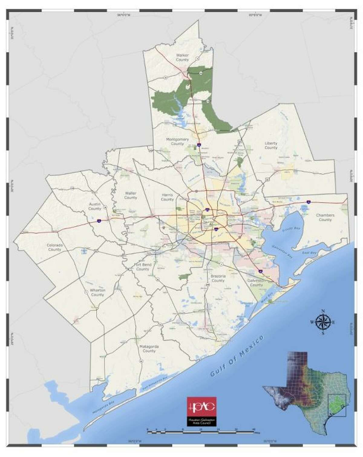 The Houston-Galveston Area Council is made up of representatives from county and city governments in Harris County and 12 surrounding counties, including Liberty.