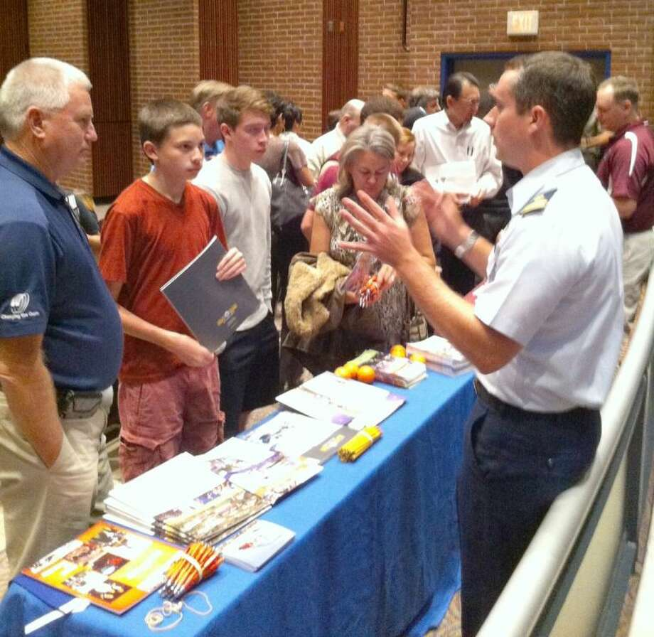 CFISD students and parents gathered information from service academy representatives during the annual Military Academy Night at the Berry Center on Tuesday. Photo: Submitted Photo