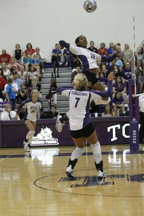 Hightower graduate Yvonne Igodan finished her college career ranked in TCU's top 10 in blocks and hitting percentage. Photo: TCU Athletics