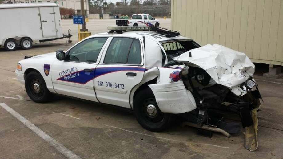 A drunken driver reportedly totaled a constable deputy's car.