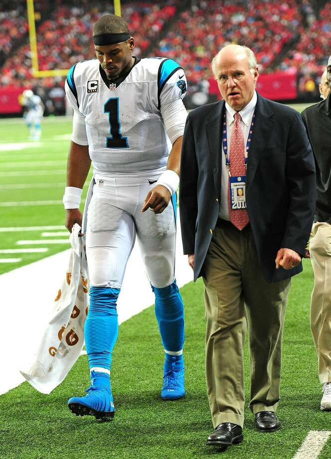 Cam Newton leaves the field at the Georgia Dome.. Photo: Scott Cunningham, Getty Images