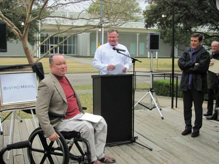 From left, Americo Nonini, chef Greg Martin and Menil Director Josef Helfenstein at a press conference announcing Bistro Menil as the name for the long-planned restaurant on the 30-acre museum campus.
