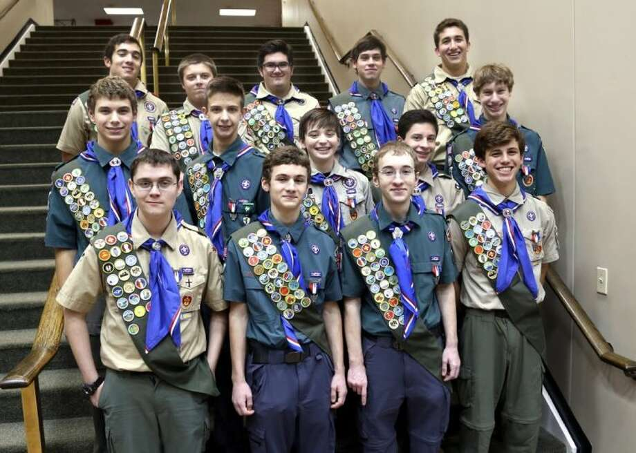 Troop 13 scouts awarded Eagle on Jan. 5 are (front row, from left) Jason Thomas, Ethan Henderson, Micah Henderson and Samuel Dunegan. Middle row: Brent Johnson, Hayden Grobleben, Paul Rush, Daniel Songer and Austin Clark. Top row: Craig Hannon, Jay Kennedy, Samuel Worsham, Harrison Coons and Alex Dodd. Photo: Rusty Graham