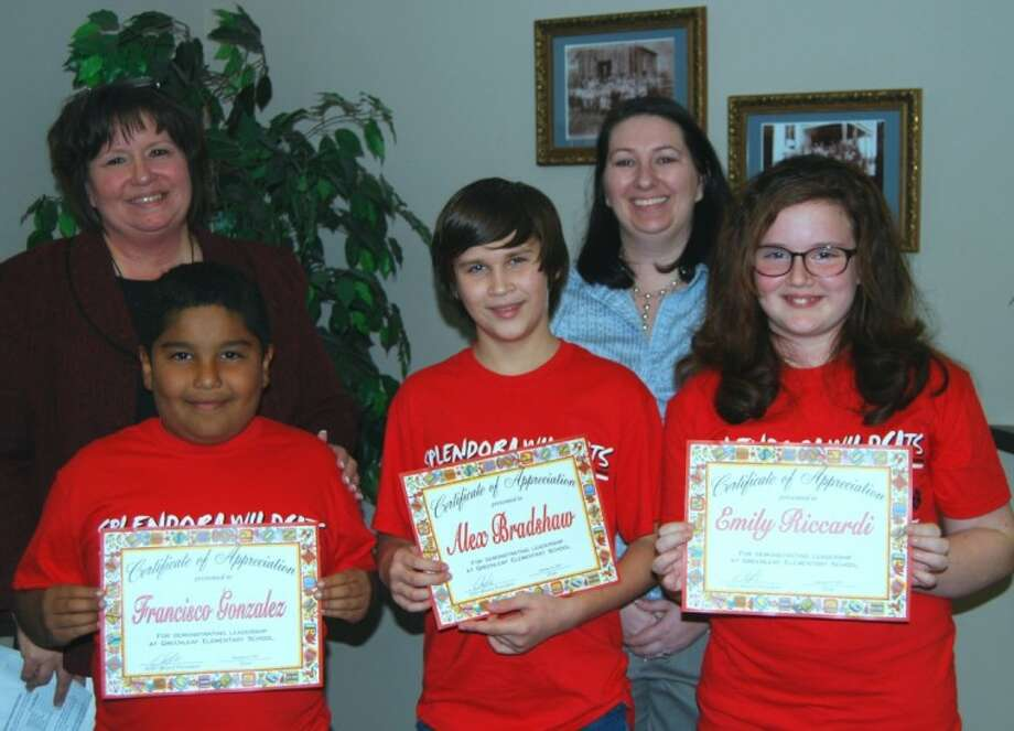 Greenleaf Elementary Principal Debbie Romines and counselor and sponsor Jennifer Tamayo recognize the Student Council members at the Jan. 16 board meeting. Students in attendance were Francisco Gonzales, Alex Bradshaw and Emily Riccardi. Members not pictured are Grace Weber, Brisa Carmona, Christopher Gutierrez, Dedric Williams, Beatriz Garcia, Chastity Gray, Jayde Torres, Rebecca Alfaro, Jade Cody and Samantha Dewberry.