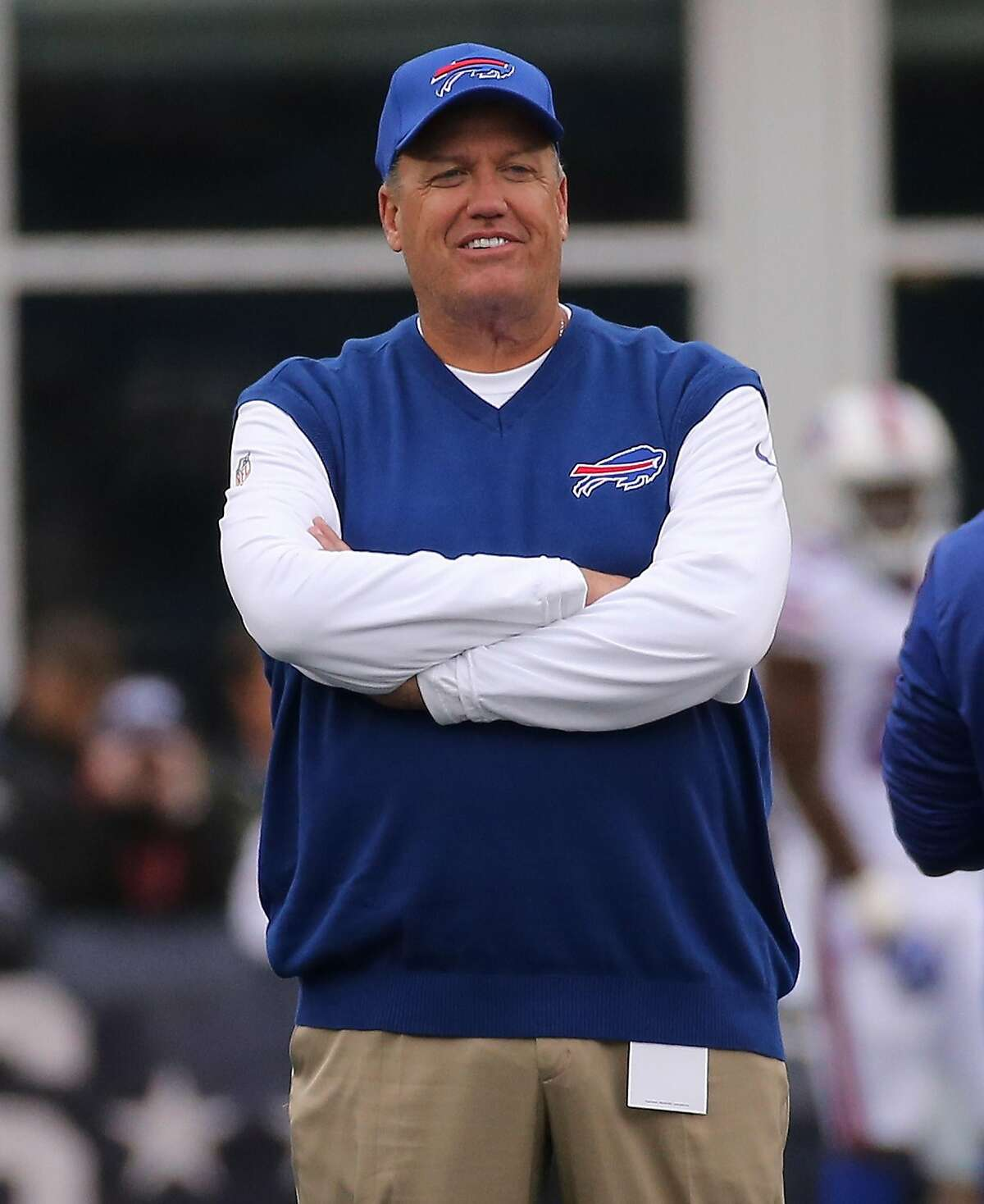 FOXBORO, MA - OCTOBER 02: Rex Ryan of the Buffalo Bills looks on during drills before a game with Buffalo Bills at Gillette Stadium on October 2, 2016 in Foxboro, Massachusetts. (Photo by Jim Rogash/Getty Images)