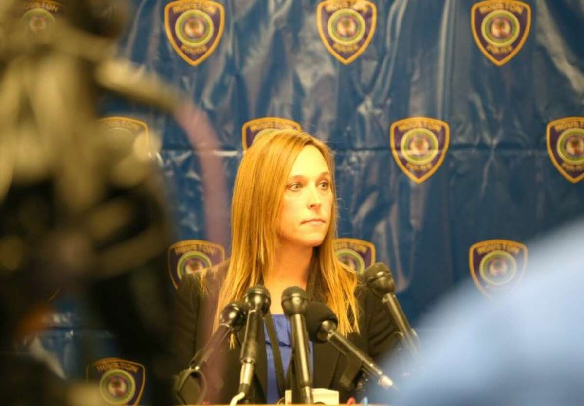 HPD Sgt. Cathy Richards takes a question last week during a press conference at the Westside Command Division.
