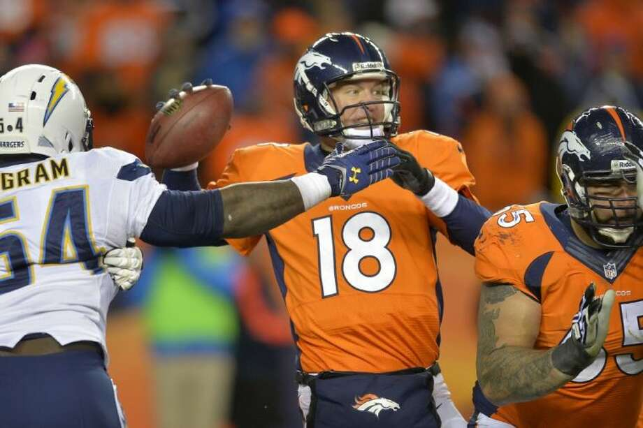 Denver Broncos quarterback Peyton Manning passes under pressure from San Diego Chargers outside linebacker Melvin Ingram in the fourth quarter of an AFC divisional playoff game on Sunday in Denver.