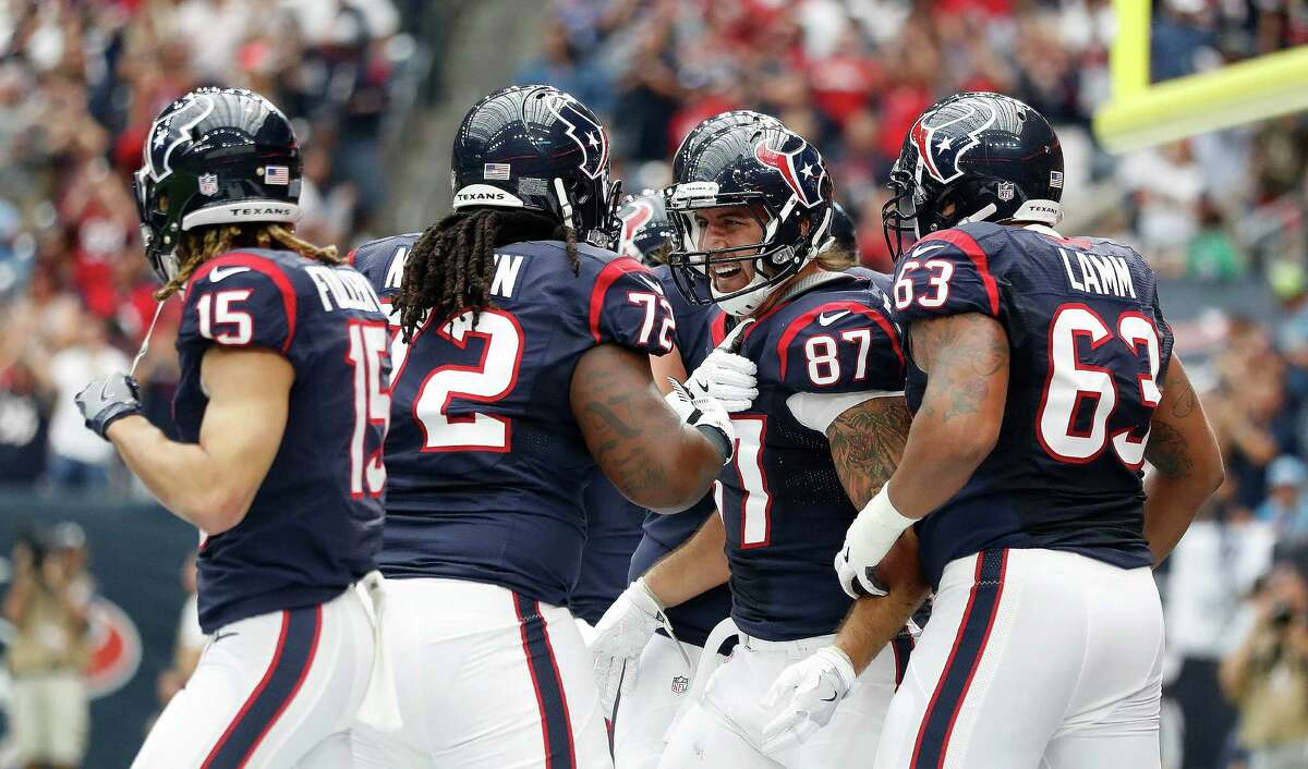 Houston Texans tight end C.J. Fiedorowicz (87) celebrates his touchdown during the first quarter of an NFL football game at NRG Stadium, Sunday, Oct. 2, 2016 in Houston.