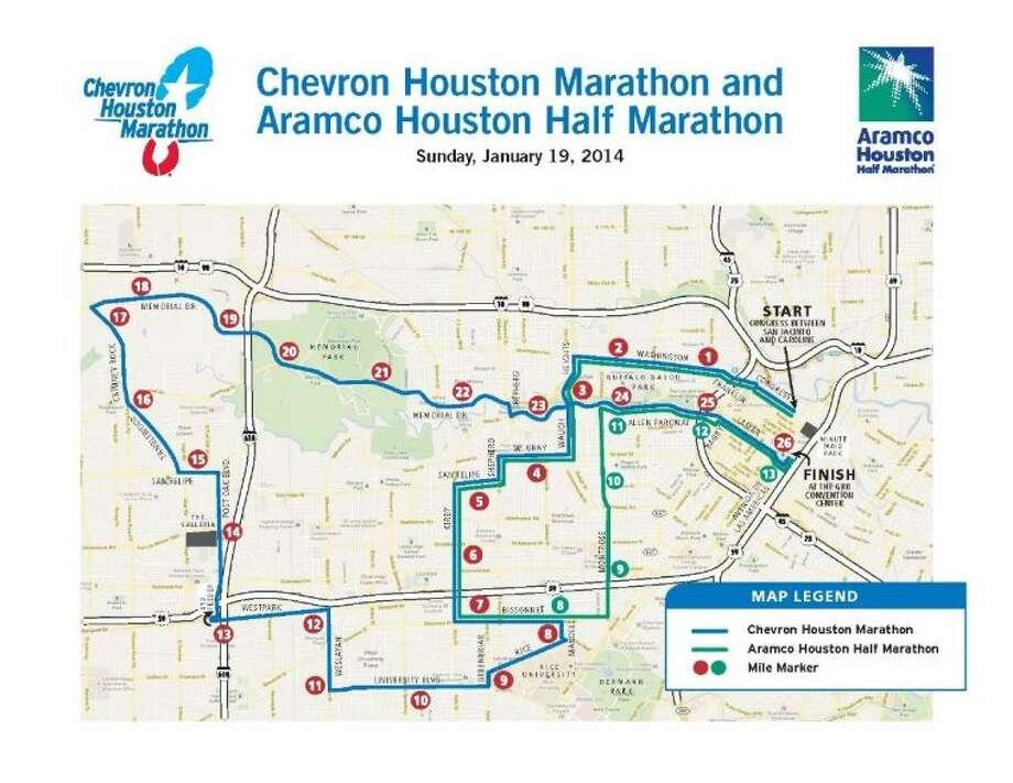 Street closures begin around 5 a.m Sunday, Jan. 19, for the Chevron Houston Marathon. Photo: Chevron Houston Marathon