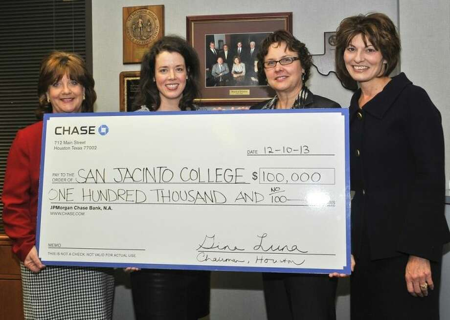 Pictured (left to right) are Dr. Allatia Harris, San Jacinto College Vice Chancellor for Strategic Initiatives, Workforce, Community, and Diversity; Carolyn Watson, relationship manager for Global Philanthropy with Chase bank; Martha Van Buskirk, grant writer with the San Jacinto College Office of Grants Management; Dr. Brenda Hellyer, San Jacinto College Chancellor. Photo credit: Andrea Vasquez, San Jacinto College marketing, public relations, and government affairs department.