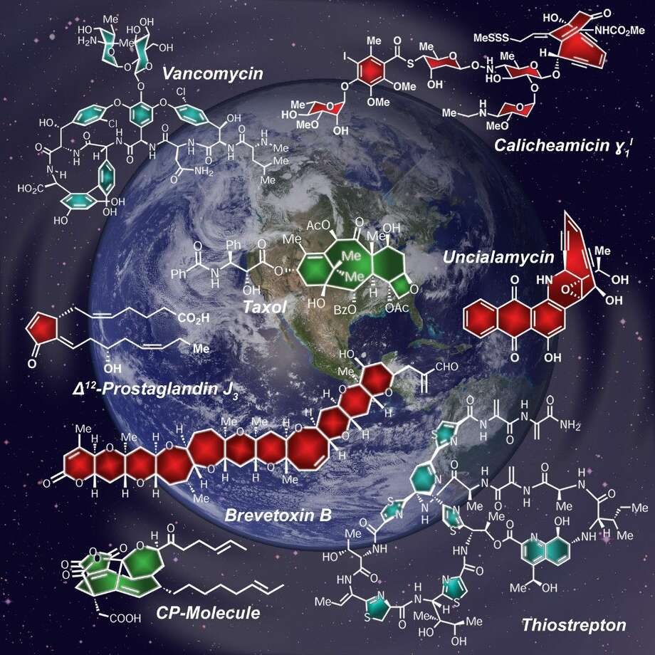 This image depicts a number of biologically active molecules found in living nature that have been replicated in the laboratory of Rice University chemist K.C. Nicolaou, who will be awarded Cyprus' coveted Nemitsas Prize on Oct. 7. The background shows a photograph of Earth (public domain image created by NASA) and the universe (European Southern Observatory).