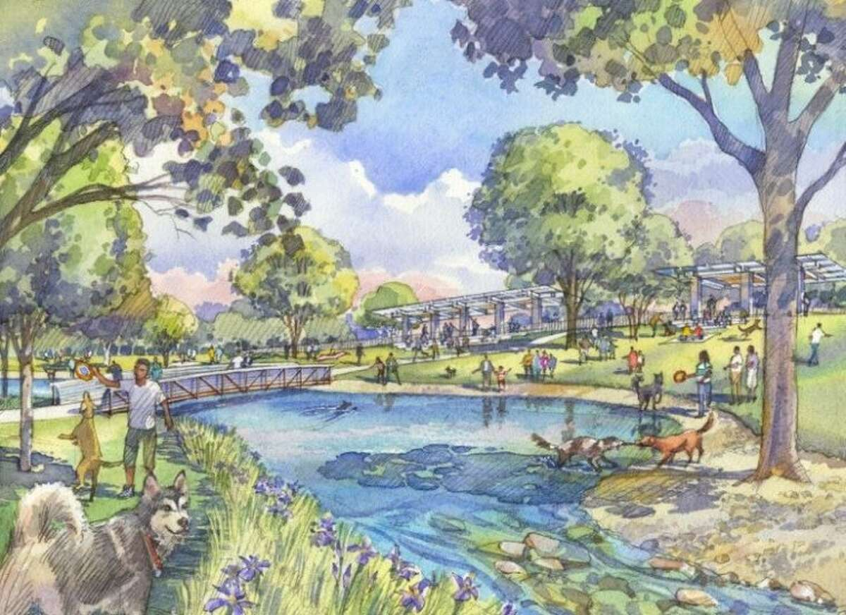 Rendering of Buffalo Bayou Partnership's Dog Park, expected to be complete this fall.