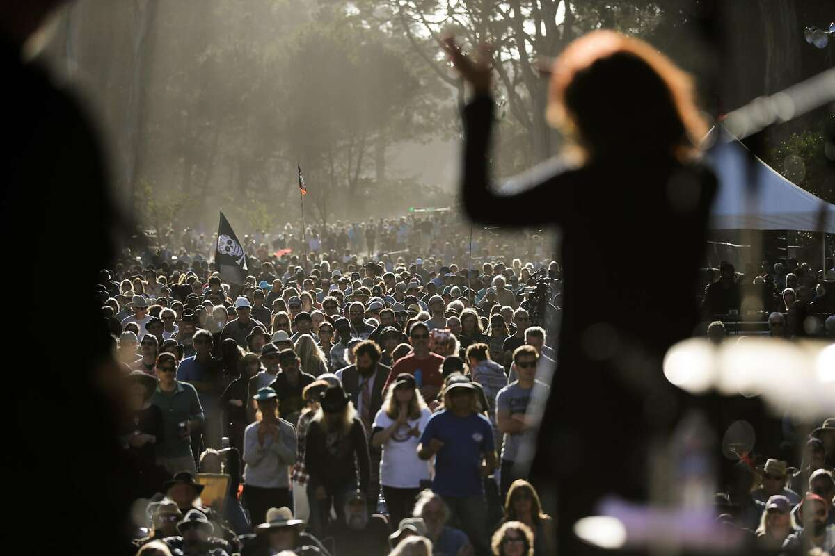 Rosanne Cash performs while the crowd dances along, at the Hardly Strictly Bluegrass music festival in Golden Gate Park in San Francisco, California, on Sunday, Oct. 2, 2016.