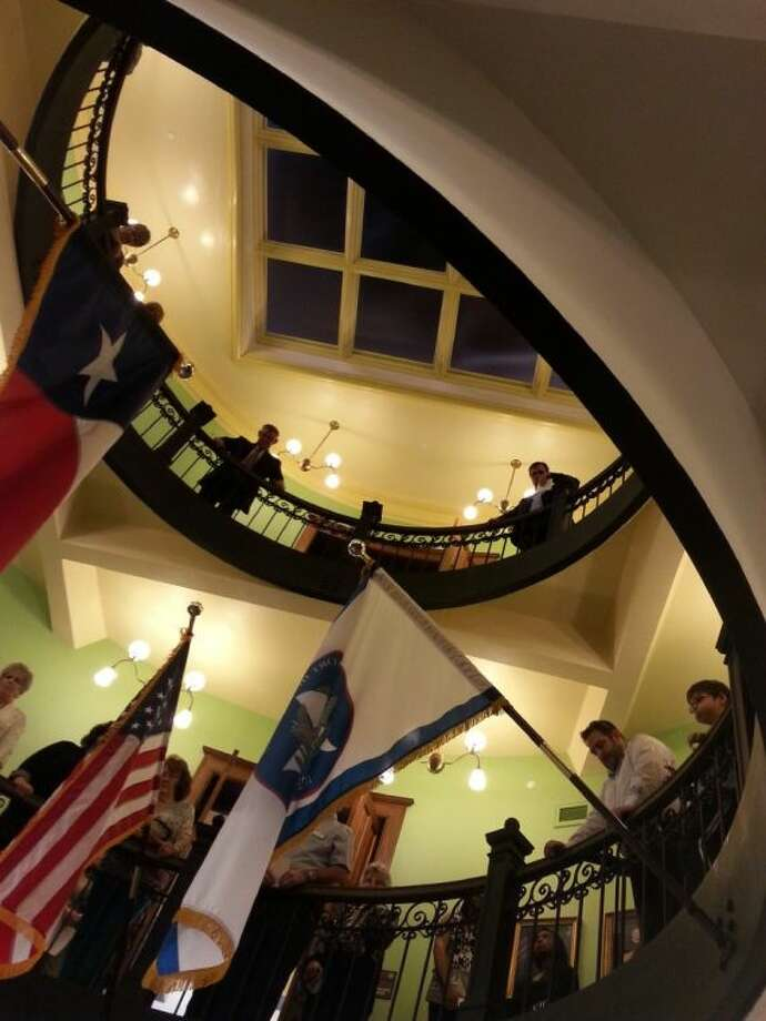 The view upward from the base of the rotunda at the newly-rededicated Historic Fort Bend County Courthouse on Sunday, Jan. 19. Photo: Zach Haverkamp