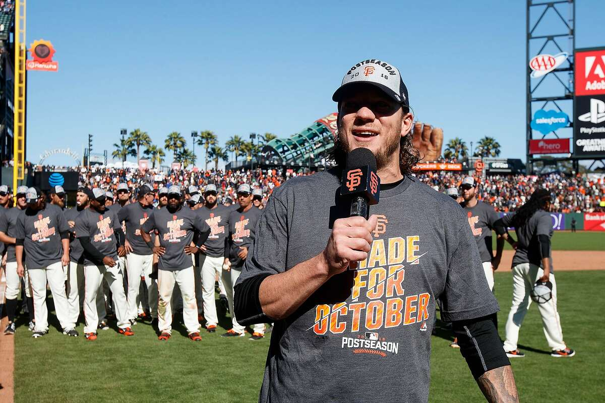 Jake Peavy #22 of the San Francisco Giants addresses fans after the game Lagainst the Los Angeles Dodgers at AT&T Park on October 2, 2016 in San Francisco, California. The San Francisco Giants defeated the Los Angeles Dodgers 7-1. (Photo by Jason O. Watson/Getty Images)